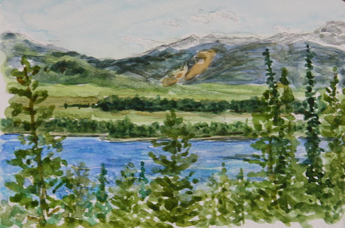 Watercolor view from near Inspiration Point ~ Jenny Lake