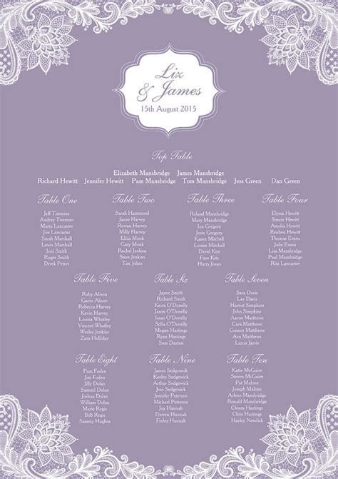 Lavender Themed Wedding Seating Plans