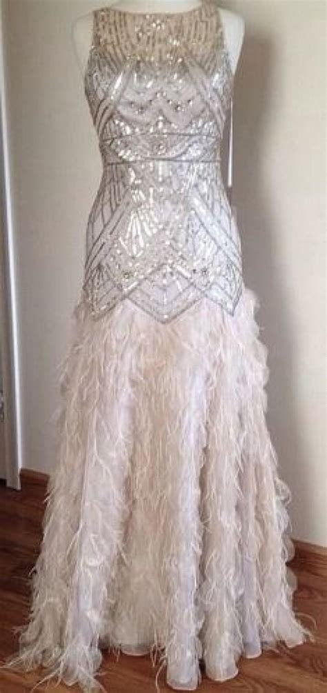 sue wong gatsby feather gown dress pageant wedding prom
