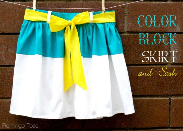 Color Block Skirt with Sash ~ flamingotoes.com