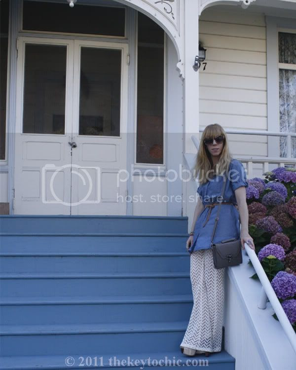 Nasty Gal crochet flare pants, chambray shirt, California fashion blog