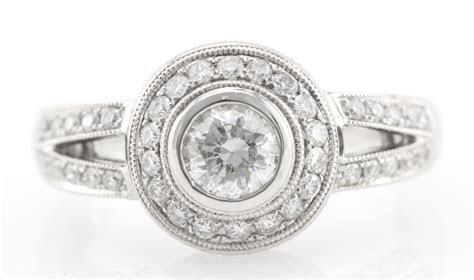 18K White Gold Vintage 0.95CT Bezel Diamond Milgrain