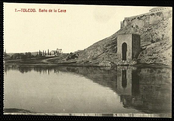 Baño de la Cava (Toledo) a principios del siglo XX. Foto Castañeira