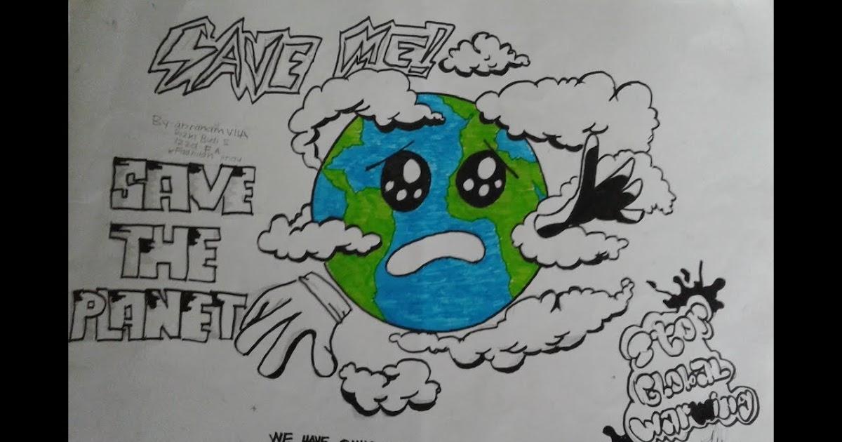 30 Ide Keren Contoh Gambar Poster Mudah Digambar Poster Pemanasan Global Larmadio Dihannah