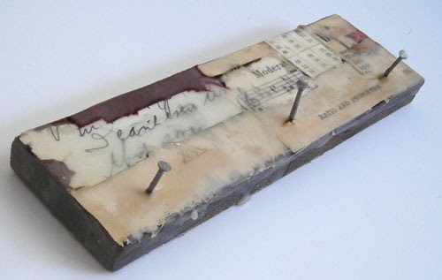 Original Fine Art Encaustic Wax Collage on Salvaged Wood - Framed Mixed Media
