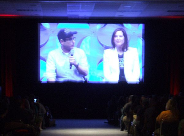 Director J.J. Abrams and Lucasfilm president Kathleen Kennedy discuss THE FORCE AWAKENS during a panel at the Star Wars Celebration in Anaheim, California...on April 16, 2015.