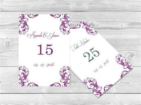 Wedding Table Numbers Template   4x6 Elegant Orchid Purple