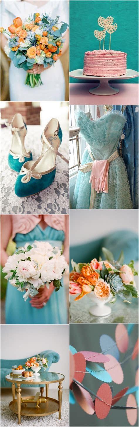 Perfect Peach & Teal Wedding Colour Palette   weddingsonline