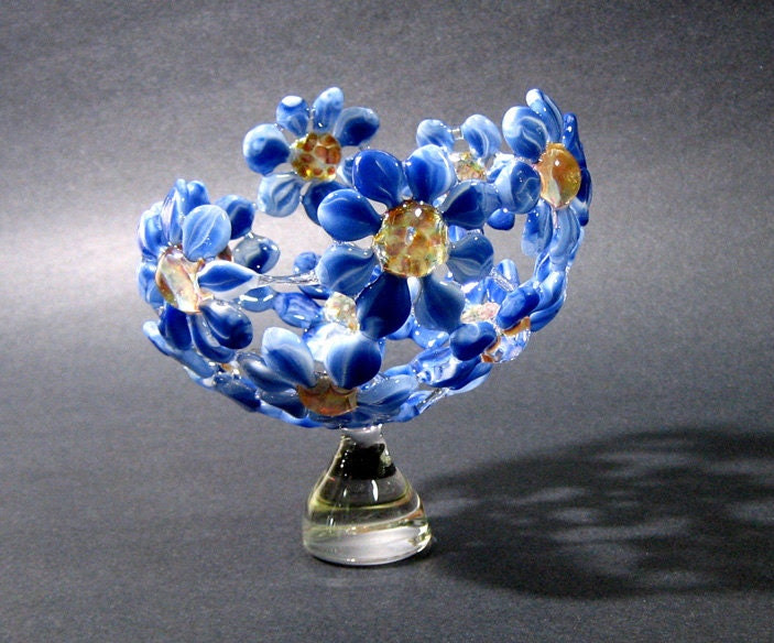 image glass flower bowl sculpture artisan crafted lampwork glass blue yellow