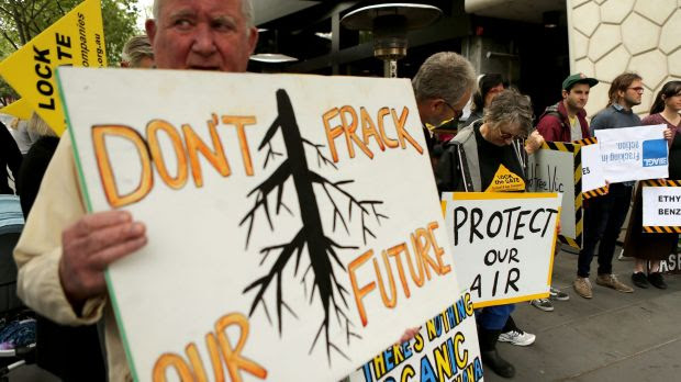 Fracking protesters outside AGL's annual general meeting in Melbourne in September, 2015.