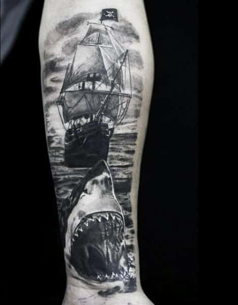 90 Shark Tattoo Designs For Men Underwater Food Chain