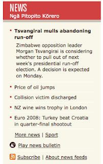 Image of news section of Radio NZ site