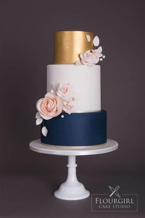 Navy gold and blush wedding cake   Cake   Dessert   Blush
