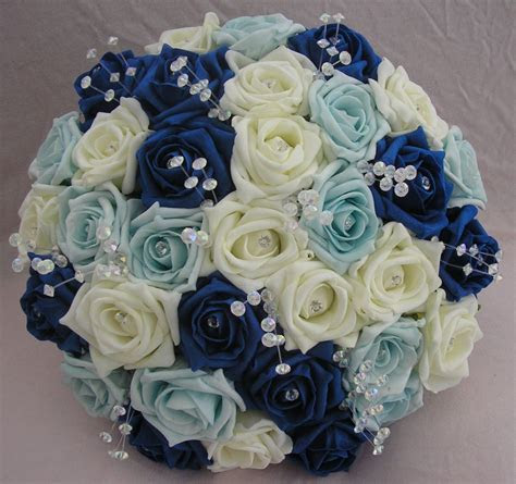 ARTIFICIAL FLOWERS ROYAL BLUE IVORY LIGHT BLUE FOAM ROSE