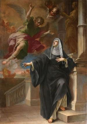 Aparición del ángel a Santa Mónica, lienzo de Pietro Maggi. Iglesia de San Marcos, Milán (Italia).