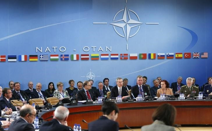 NATO Secretary General Jens Stoltenberg (C) addresses a NATO defence ministers meeting at the Alliance's headquarters in Brussels February 10, 2016.  REUTERS/Yves Herman