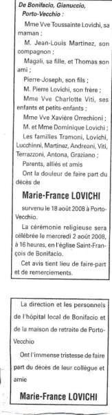 Décès Lovichi Marie France