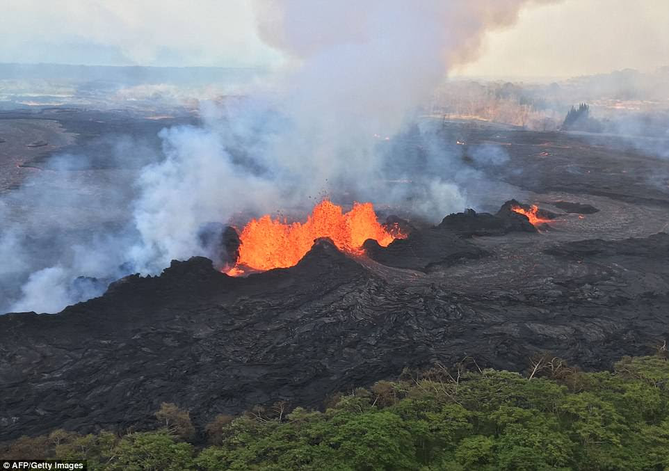 This image released by the USGS shows a lava fissure on Tuesday. Lava has been spouting on the island for the past three weeks