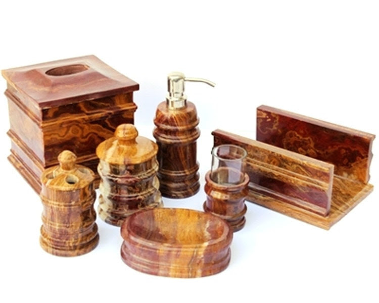 Multi Onyx 7 Piece Bathroom Accessories Set - NatureHomeDecor