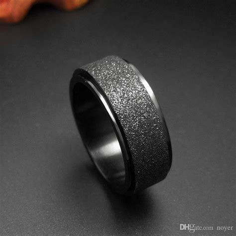 2019 Mens Wedding Band Rings Classic Black Titanium Steel