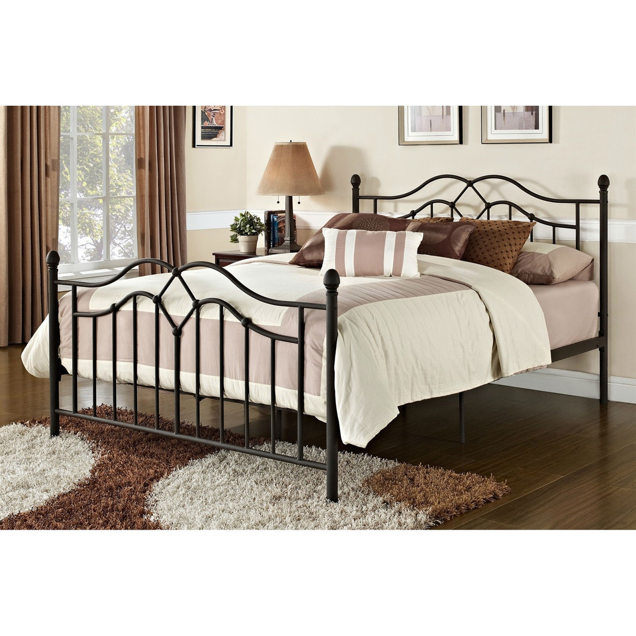 Queen size Brushed Bronze Metal Bed with Headboard and ...