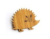 Hedgehog Brooch - Bamboo Brooch - Mother's Day Gift - Laser Cut by the Owl & Otter - OwlandOtter