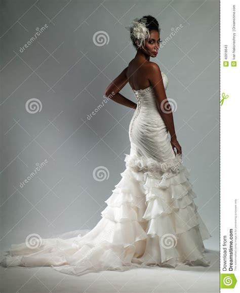 African American Woman In A Wedding Dress Stock Photo