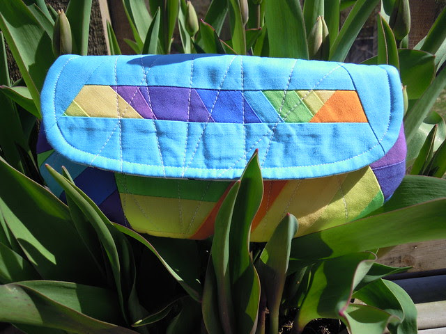 Scrappy Quilted Pouch - front
