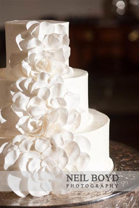 All white wedding cake in Raleigh, NC.   Raleigh weddings