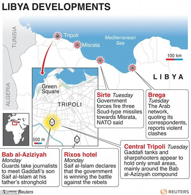 Maps of Libya and Tripoli detailing latest events in the Libyan capital