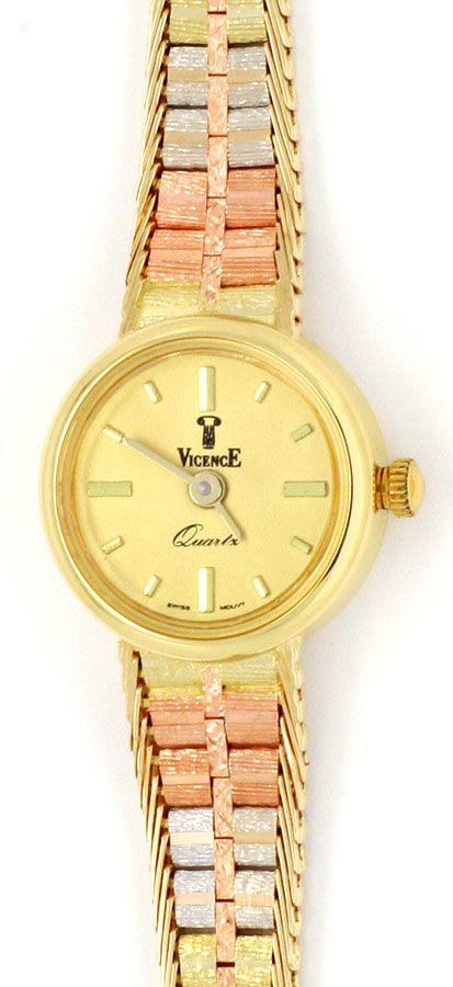 Foto 2, Vicende Damen-Armbanduhr 14K Gelbgold Weissgold Rotgold, U2137