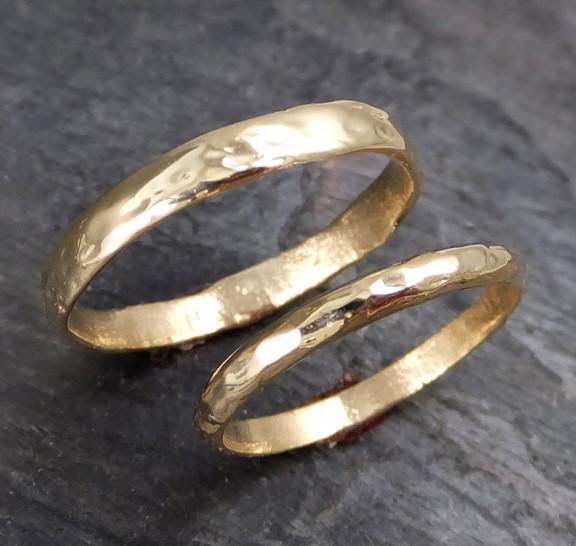 Custom Pair Men S 4mm And Women S 2mm Wedding Bands Set 14k Gold Textu By Angeline