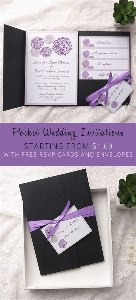 cheap purple dandelion black pocket wedding invitation