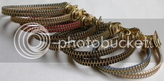 TWO Brass Zipper Bracelets