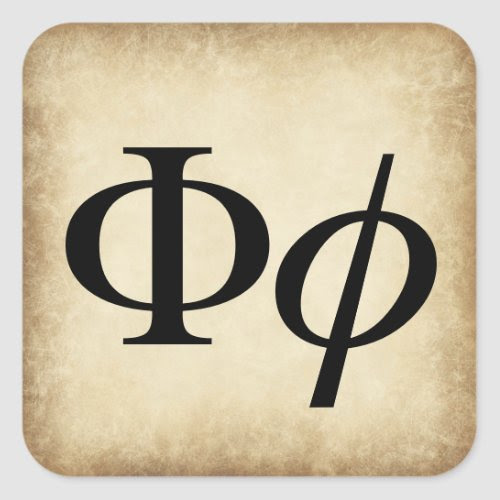 Greek Alphabet Letter Phi Square Sticker