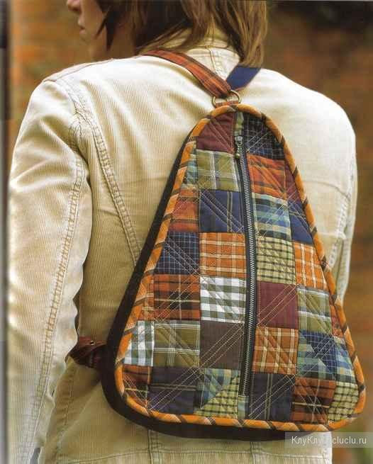 Backpack with their hands, patchwork technique