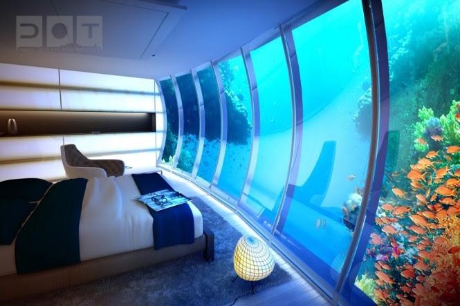 Underwater sea themed hotel room