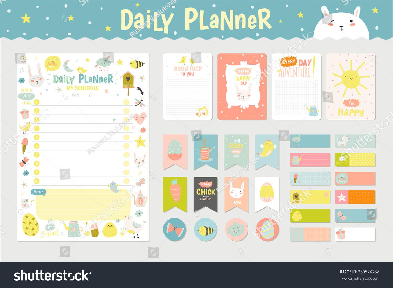 Cute Calendar Daily Planner Template 2016 Stock Vector 389524738 ...