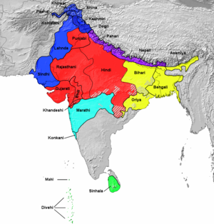 Indo-Aryan languages, grouping according to SI...