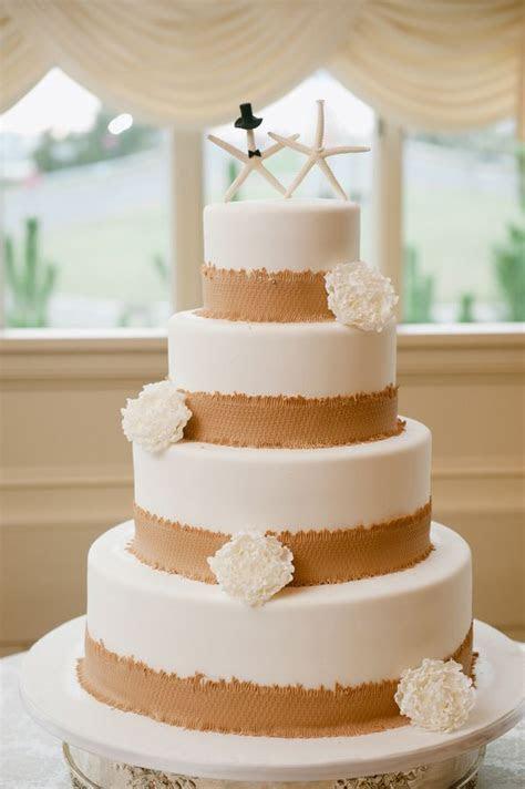 Rustic beach wedding cake with edible burlap trim and