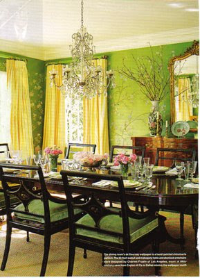 green cherry blossom dining room | Interiorly