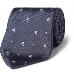 Paul Smith Shoes & Accessories Flower-embroidered Silk Tie
