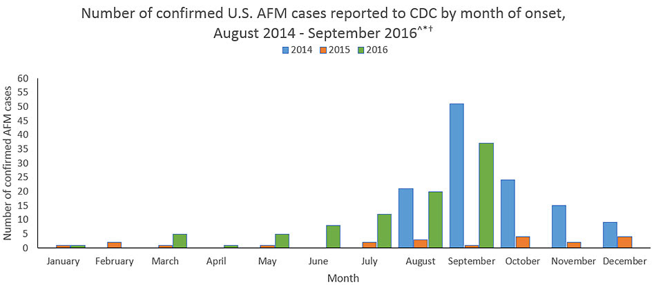 Confirmed AFM cases reported to CDC: January 2015 = 1, February = 2, March = 1, May = 1, July = 2, August = 3, September = 1, October = 4, November = 2, December = 4, January 2016 = 1, March 2016 = 5, April = 1, May = 5, June =8; July = 12 no cases reported in April 2015, June, September, and February 2016.
