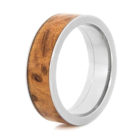 Men's Titanium and Thuya Burl Wood Ring
