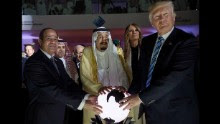 A photo made available by the Saudi Press Agency shows US President Donald J. Trump, US First Lady Melania Trump, King Salman bin Abdulaziz al-Saud of Saudi Arabia and Egyptian President Abdel Fattah al-Sisi opening the World Center for Countering Extremist Thought in Riyadh, Saudi Arabia, 21 May 2017. President Trump is in Ridayah to attend the Gulf Cooperation Council summit.