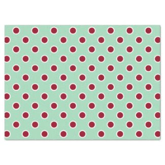 "Maroon Polka Dots on Mint Green Tissue Paper 17"" X 23"" Tissue Paper"