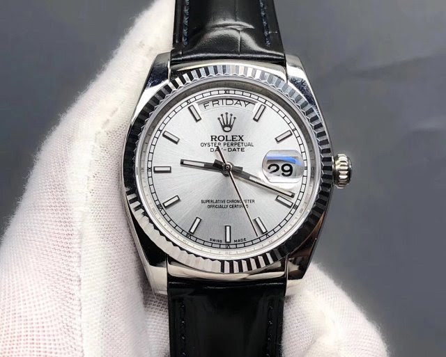 Replica Rolex Day-Date with Black Leather Strap