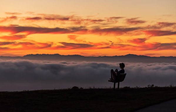 Low fog sunset from Palos Verdes