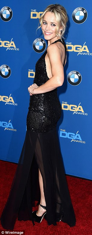 Lovely at every turn: Rachel proved to be very flexible as well as stylish on the carpet