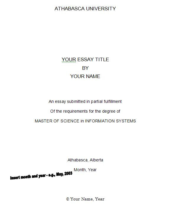 how to write a cover page for an essay free